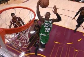 Thompson block sets LeBron up for basket