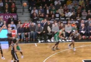Dinwiddie sinks 3-pointer from half-court logo