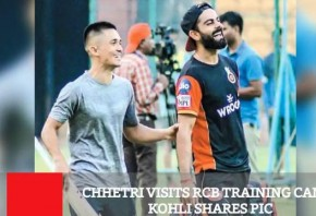 Chhetri Visits RCB Training Camp Kohli Shares Pic
