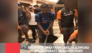 Bhuvneshwar Cuts Cake By A Sword To Celebrate India's Victory