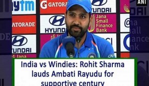 India vs Windies: Rohit Sharma lauds Ambati Rayudu for supportive century