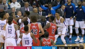 Westbrook sparks mass brawl which spills into crowd