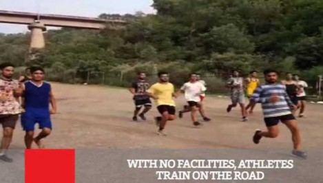 With No Facilities Athletes Train On The Road.