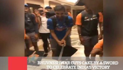 Bhuvneshwar Cuts Cake By A Sword To Celebrate India s Victory