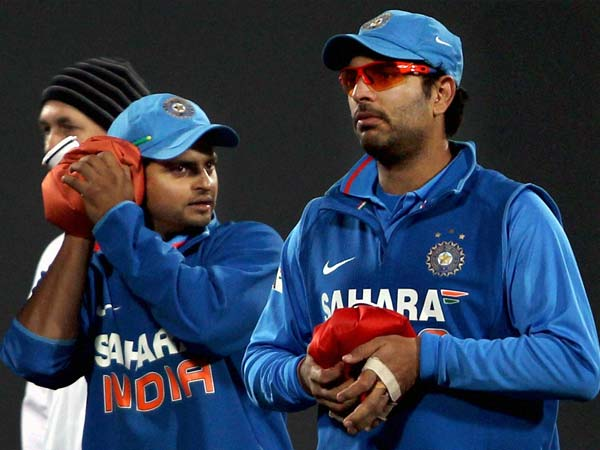 Yuvraj, Raina warm themselves with hot water bottles