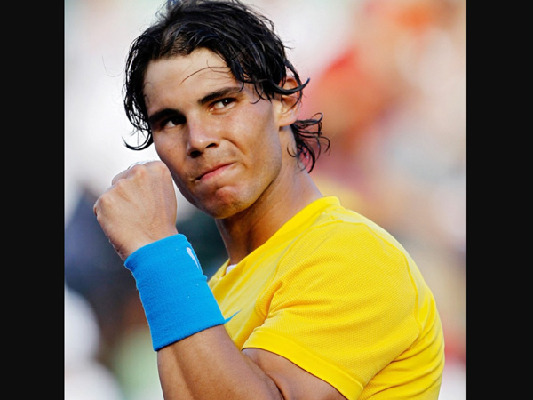 Rafael Nadal celebrates after winning a point