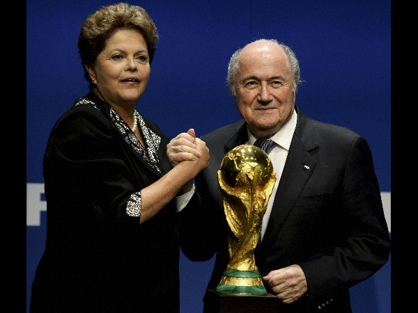 File photo of Sepp Blatter (right)