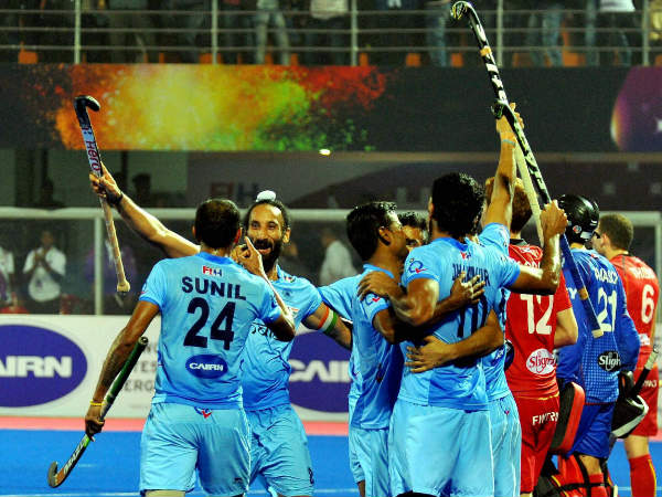 Indian players celebrate a goal against Belgium in the quarter-finals