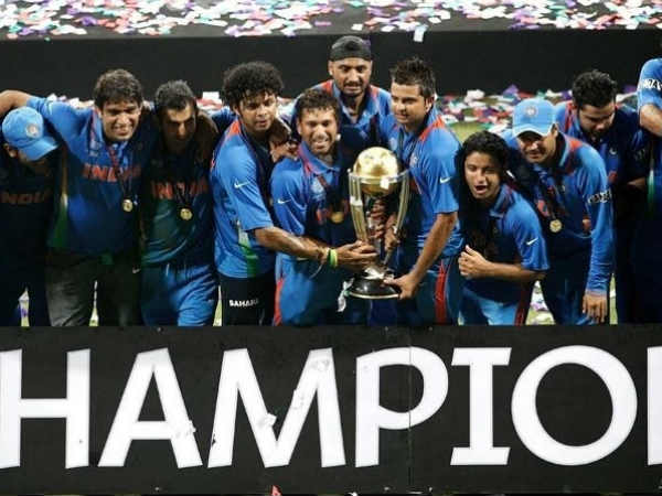File photo of Indian players celebrating after winning 2011 World Cup