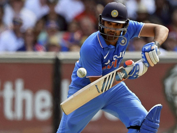 Rohit plays a shot en route to his ton
