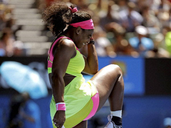 Serena Williams celebrates after defeating fellow American Madison Keys in their semifinal match at the Australian Open