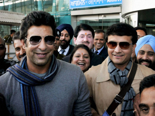 File photo of Wasim Akram (left)