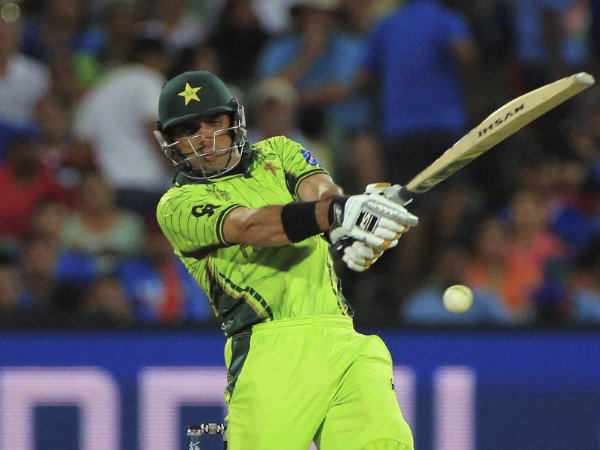 Misbah-ul-Haq plays a shot during ICC World Cup 2015