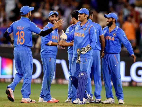 Indian players celebrate their win against Bangladesh in quarter-final of World Cup 2015
