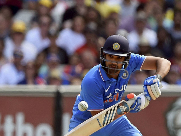 Rohit Sharma plays a shot at World Cup 2015