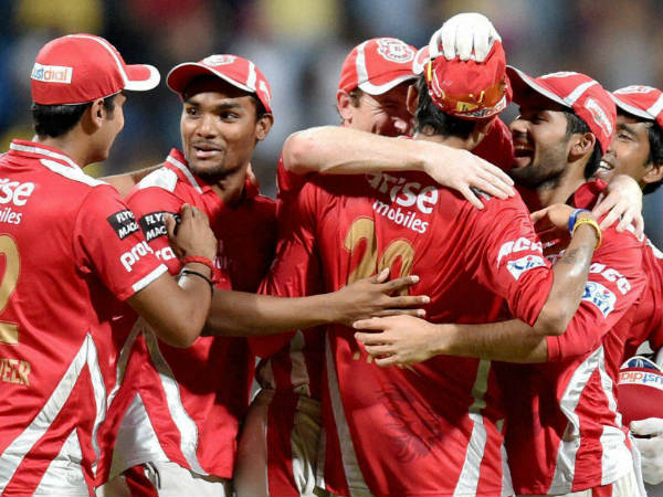 File photo of Kings XI Punjab players celebrating a wicket during an IPL match