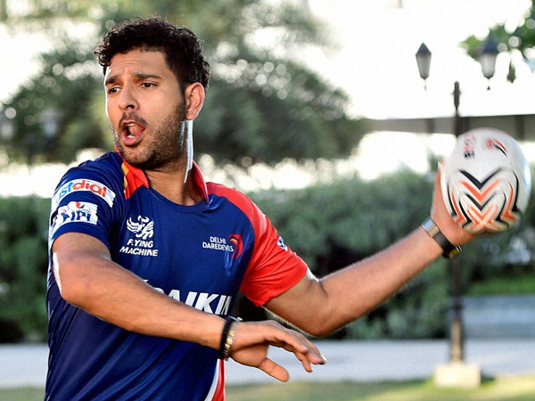 Yuvraj during a training session for IPL 2015