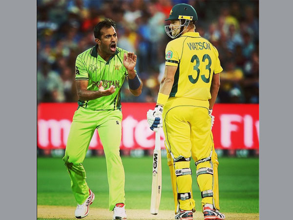 File photo: Wahab (left) with Shane Watson during their famous duel at World Cup 2015