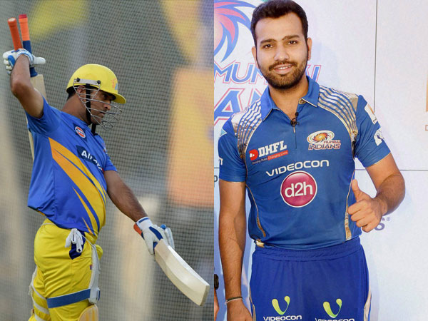 Captains Dhoni (left) and Rohit