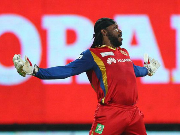 Chris Gayle celebrates in Cristiano Ronaldo's way after reaching his hundred. Photo from IPL's Twitter page