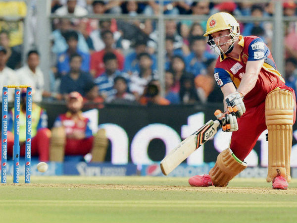 De Villiers plays a shot during his 133 not out against MI