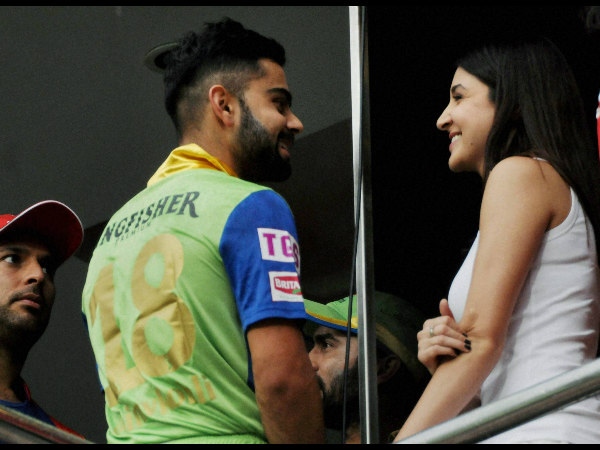 Yuvraj, Kohli and Anushka at the stadium