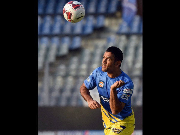 A bit of football for CSK captain MS Dhoni ahead of the big game