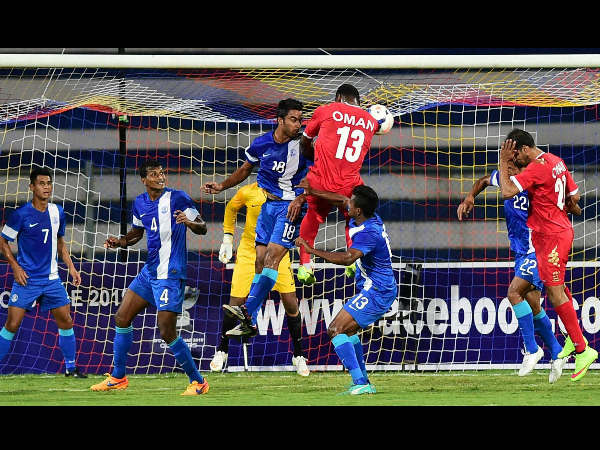 Indian and Oman players in action during their FIFA World Cup 2018 qualifying match