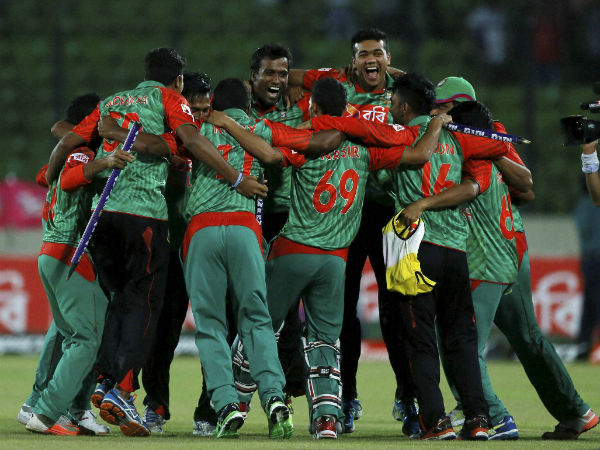 Bangladesh players celebrate their landmark series win