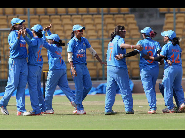 File photo: Indian women celebrate after winning the 1st ODI against New Zealand at Chinnaswamy stadium in Bengaluru on Sunday
