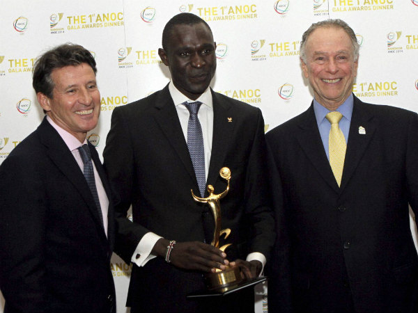File photo: Sebastian Coe (left) is seen with Kenyan athlete David Rudisha (centre) and President of the Organising Committee of Rio Olympics 2016 Carlos Nuzman