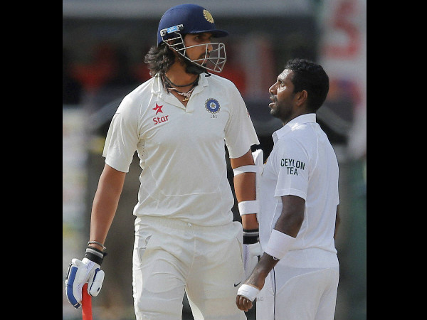 Ishant (left) argues with Sri Lanka's Dhammika Prasad