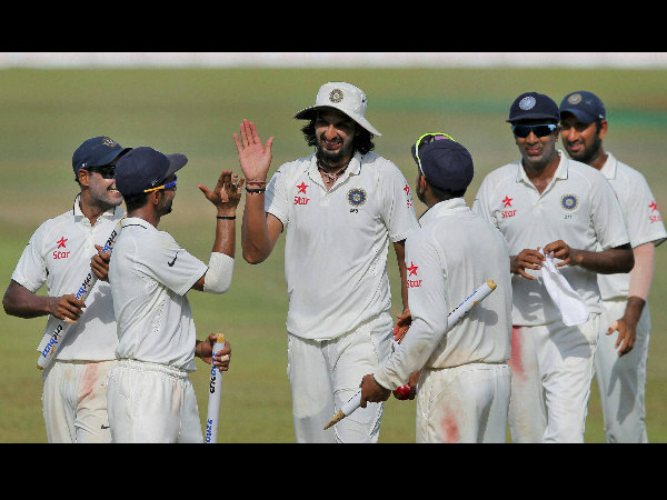 Ishant Sharma, centre, is congratulated by his team-mates after India defeated Sri Lanka
