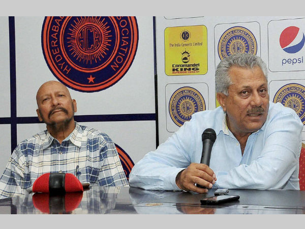 ICC president Zaheer Abbas (right) with Syed Kirmani at a media conference in Hyderabad on Tuesday (September 15)