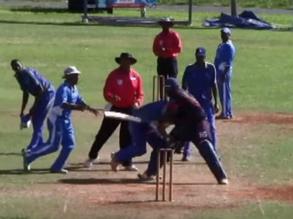 Cricketers fight on the field. Image from YouTube video