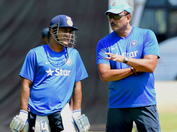Dhoni (left) and Shastri at the preparatory camp in Bengaluru on Friday