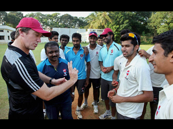 File photo: McGrath interacting with bowlers at the MRF Pace Foundation