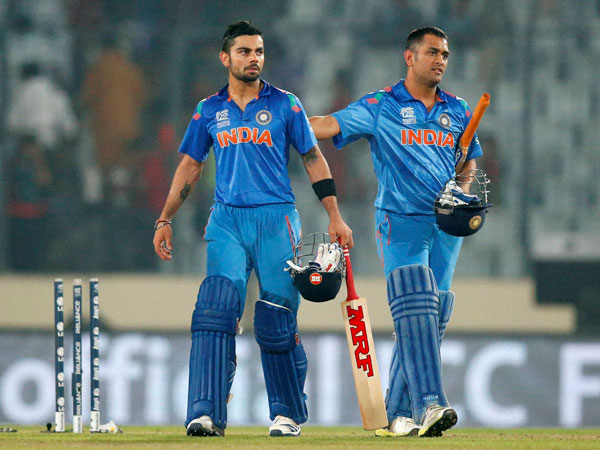 Virat Kohli (left) and captain MS Dhoni - India's 2 key players