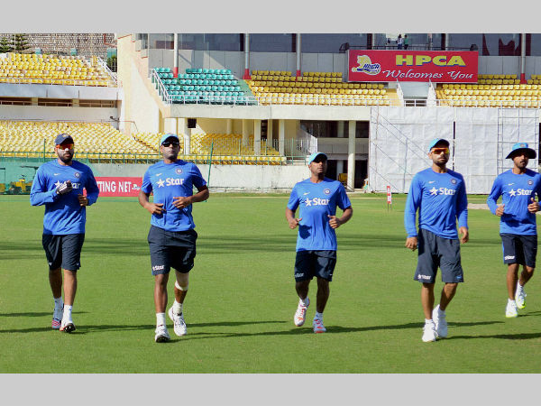 Indian players train at HPCA stadium in Dharamsala