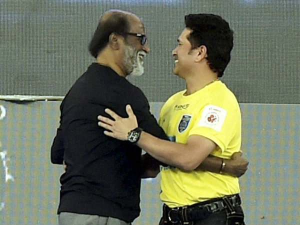 Sachin Tendulkar (right) with actor Rajinikanth during the opening ceremony of ISL2015 in Chennai on Saturday (October 3)