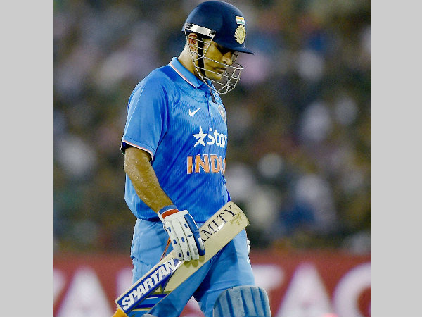 MS Dhoni walks back to the pavilion after scoring just 5