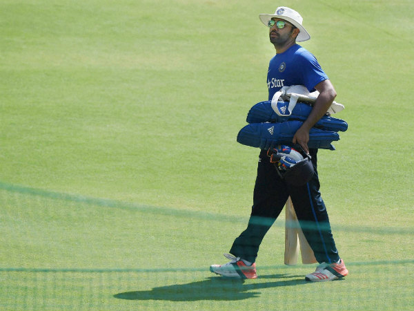 Rohit Sharma arrives for practice at Holkar Stadium in Indore on Tuesday
