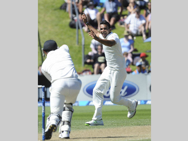 Zaheer celebrates a New Zealand wicket in his last Test, in February 2014 in Wellington