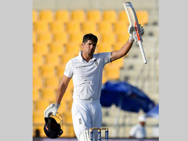 Alastair Cook celebrates after reaching 250