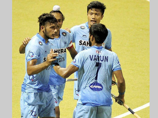 A file picture of Indian junior players celebrating a goal