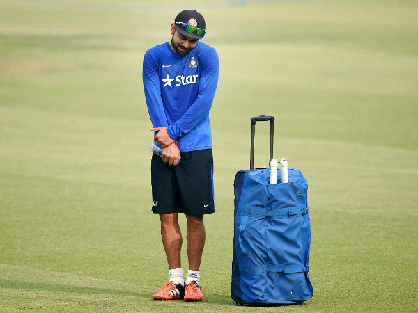 Kohli gestures during a training session in Mohali yesterday (November 3)