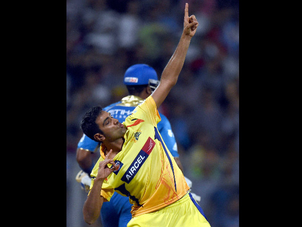 File photo: Ashwin celebrates in Olympic sprint champion Usain Bolt (Jamaica) style after taking a wicket for CSK in IPL
