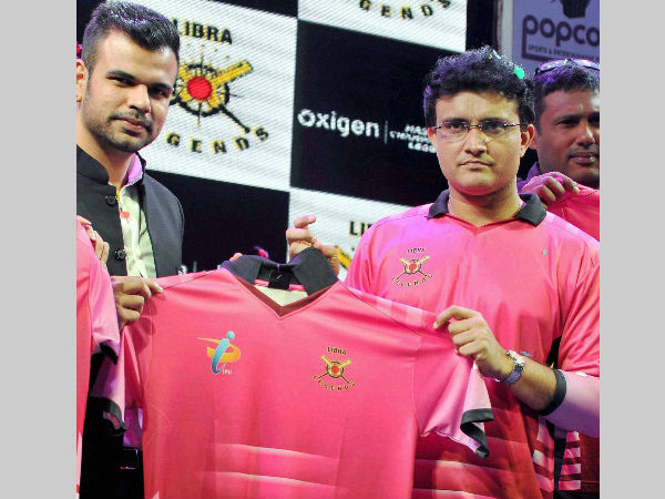Ganguly (right) unveiling the Libra Legends jersey recently