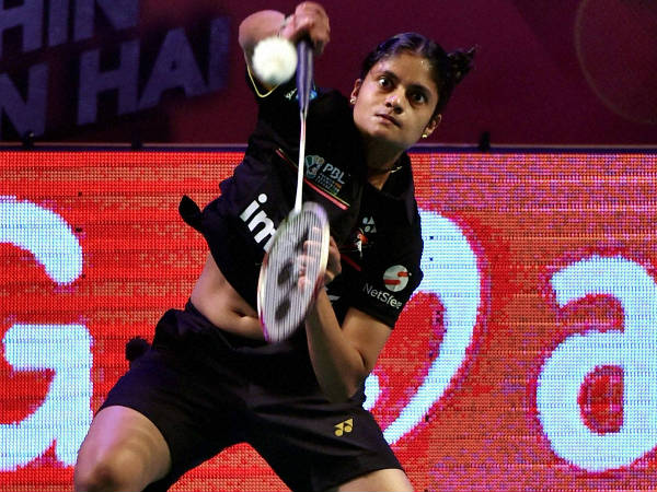 File photo: Delhi Acers' PC Thulasi in action during PBL