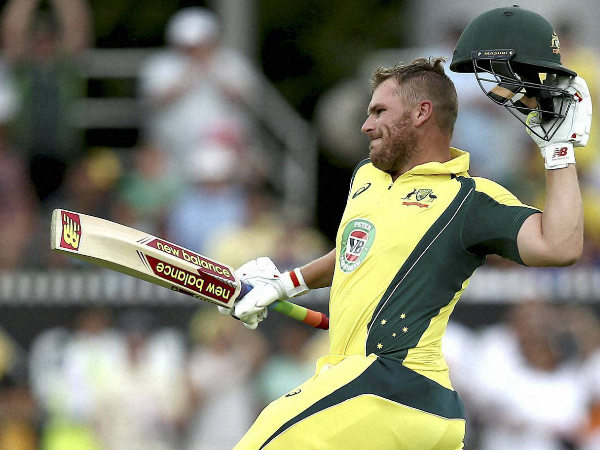 Aaron Finch is ecstatic after his ton